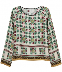 MULTICOLOURED PRINTED LONG SLEEVE BLOUSE