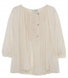 CLOTHES - LACE TRIMMED SILK BLEND SHEER SHIRT