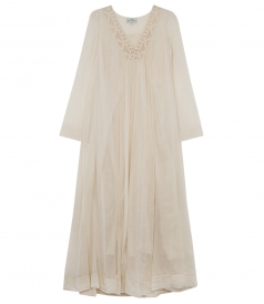 LACE TRIMMED SILK BLEND SHEER DRESS