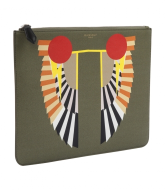 PRINTED WINGS ZIPPED POUCH
