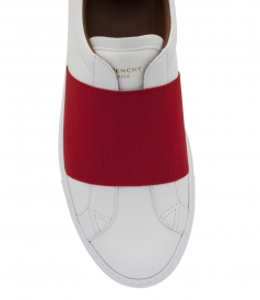 LOW SKATE SNEAKERS WITH RED ELASTICS