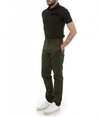 STAR EMBROIDERED PURE COTTON TROUSERS