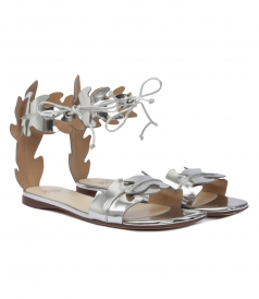 VITELLO SPECCHIO MIRRORED-LEATHER SANDALS