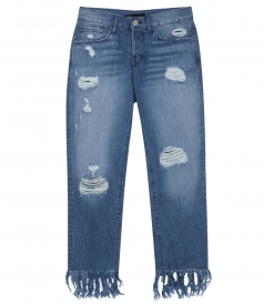 CROPPED & FRINGED DISTRESSED JEANS