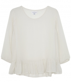PURE COTTON RUFFLED 3/4 SLEEVE TOP