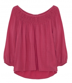 VELVET BY GRAHAM & SPENCER - CLEMENTIA SMOCKED CHALLIS TUNIC