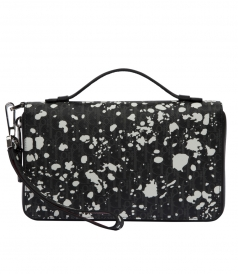 DARKLIGHT SPECKLE CANVAS & BLACK LEATHER ZIPPED WALLET