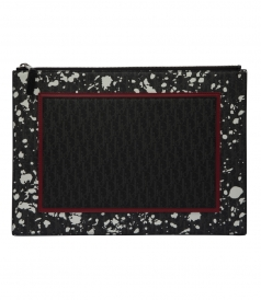 DARKLIGHT SPECKLE CANVAS AND BLACK LEATHER DOCUMENT HOLDER