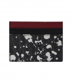 DARKLIGHT SPECKLE CANVAS AND BLACK LEATHER CARD HOLDER