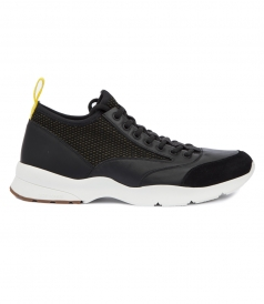 NEOPRENE SNEAKER IN CANVAS AND BLACK LEATHER