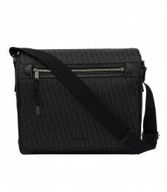 DARKLIGHT CANVAS AND BLACK LEATHER MESSENGER BAG