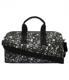DARKLIGHT SPECKLE CANVAS AND BLACK LEATHER DUFFLE BAG