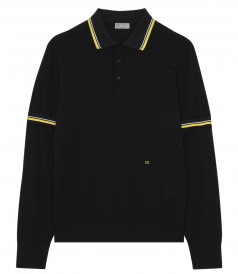 VIRGIN WOOL JERSEY POLO FTSTRIPED RIBBED DETAIL