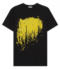 YELLOW PRINT PURE COTTON BLACK T-SHIRT
