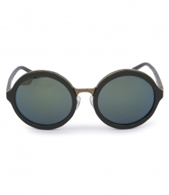 RETRO ROUND KHAKI SUNGLASSES