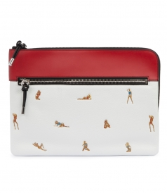 IPAD WHITE POUCH WITH EMBROIDERED BIKINI BABES