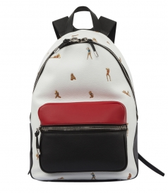 BERKELEY BACKPACK PEBBLED WHITE WITH EMBROIDERED BIKINI BABES