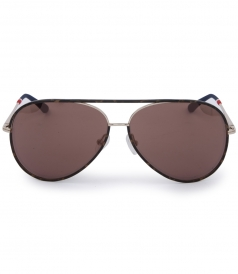 SPORTY AVIATOR SUNGLASSES IN MOCHA TORTOISESHELL