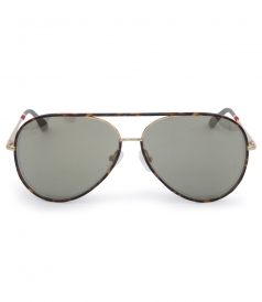 SPORTY AVIATOR SUNGLASSES IN TIGER TORTOISESHELL