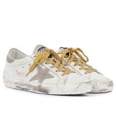 SUPERSTAR CRASHED EFFECT LOW TOP SNEAKERS WITH GOLD LACES