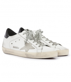 SUPERSTAR CALF LEATHER & SUEDE LOW TOP SNEAKERS