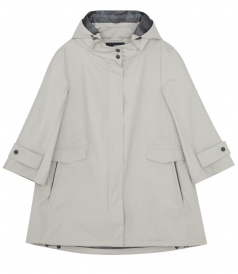 COTTON BLEND 3/4 SLEEVE HOODED JACKET