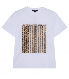 LEOPARD PRINT BONDED BARCODE TEE