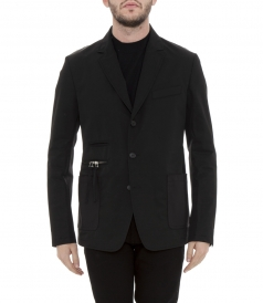 CUBAN-FIT ROBUST BLACK TWILL BLAZER