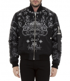 PRINTED REVERSIBLE NYLON BOMBER JACKET