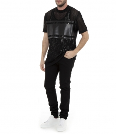 MESH LEATHER PATCH T-SHIRT