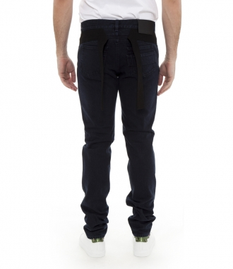 MID-RISE TAPERED JEANS WITH WAISTBAND DETAIL