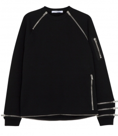 PURE COTTON ZIPPERS-DETAILED SWEATSHIRT