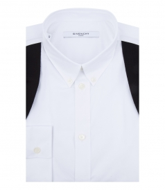 COTTON-POPLIN BLACK DETAILED SHIRT