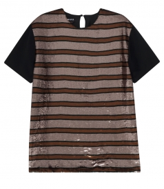 SALES - SEQUINED STRIPE SHORT SLEEVE TOP