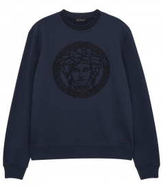SWEATSHIRTS - MEDUSA EMBROIDERED COTTON-JERSEY SWEATER
