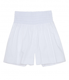 PLEATED WIDE LEGS BERMUDA WITH ELASTICATED WAISTBAND