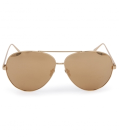 TOP RIM YELLOW GOLD METAL AVIATOR SUNGLASSES