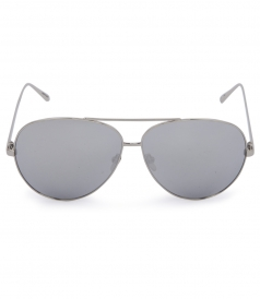 TOP RIM WHITE GOLD METAL AVIATOR SUNGLASSES