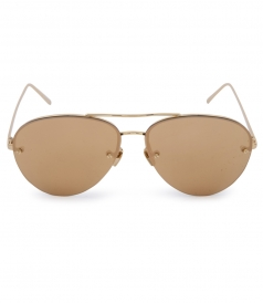 HALF RIM YELLOW GOLD METAL MIRROR AVIATOR SUNGLASSES
