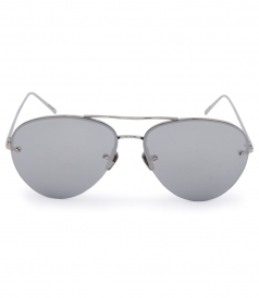 HALF RIM WHITE GOLD METAL MIRROR AVIATOR SUNGLASSES