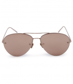 HALF RIM ROSE GOLD METAL MIRROR AVIATOR SUNGLASSES