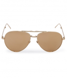 FOLDED YELLOW GOLD METAL MIRROR AVIATOR SUNGLASSES