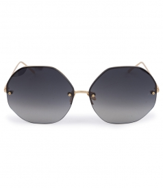 OVERSIZED ANGULAR YELLOW GOLD METAL MIRROR AVIATOR SUNGLASSES