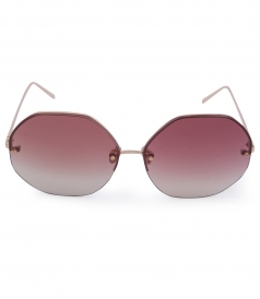 OVERSIZED ANGULAR ROSE GOLD METAL MIRROR AVIATOR SUNGLASSES