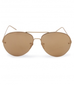 HALF RIM YELLOW GOLD PLATED TITANIUM  MIRROR AVIATOR SUNGLASSES