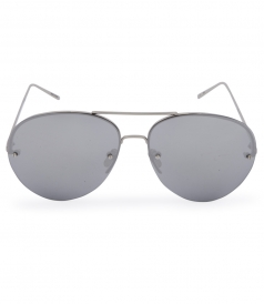 HALF RIM WHITE GOLD PLATED TITANIUM  MIRROR AVIATOR SUNGLASSES