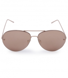 HALF RIM ROSE GOLD PLATED TITANIUM  MIRROR AVIATOR SUNGLASSES