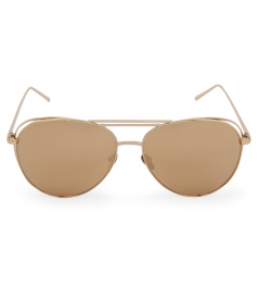 OPEN WIRE YELLOW GOLD PLATED TITANIUM  MIRROR AVIATOR SUNGLASSES