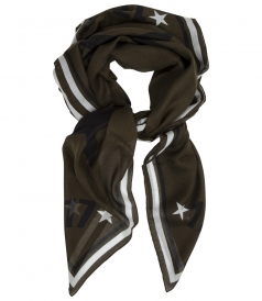 STAR PRINT CASHMERE BLEND SCARF