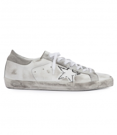 THREAD-STITCHED STAR LEATHER SUEDE BLEND SUPERSTAR SNEAKERS